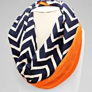 Accessories - Orange Navy and White Chevron Infinity Scarf